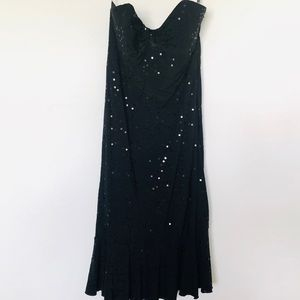Betsy Johnson Cocktail Dress Black Sequined Gown